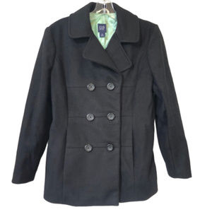 Gap Women's Double Breasted Black Wool Coat - M